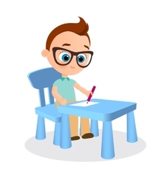 Young boy with glasses paints sitting at a school vector