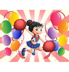 A cheerdancer in the middle of the balloons vector