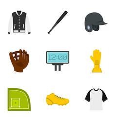 baseball tournament icons set flat style vector image