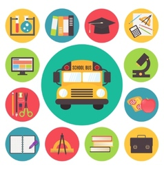 Back to school bus and supplies icons set flat vector