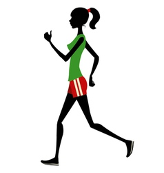Slim girl runs silhouette vector