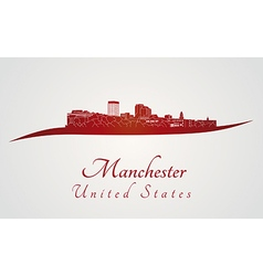 Manchester skyline in red and gray background in vector