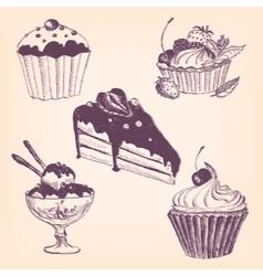 set of hand drawn desserts vector image