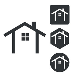 Cottage icon set monochrome vector