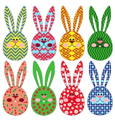 Eight easter rabbit ornamental faces vector