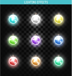 Set of 9 lamps different colors shining isolated vector