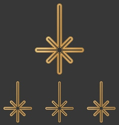 Bronze line compass logo design set vector