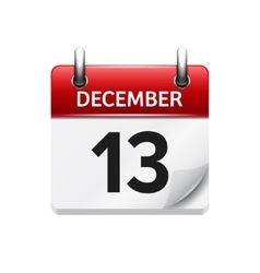 December 13  flat daily calendar icon vector