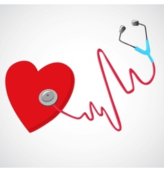 Heart and a stethoscope vector
