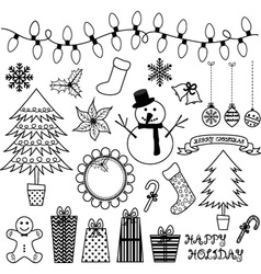 Christmas doodles collections vector