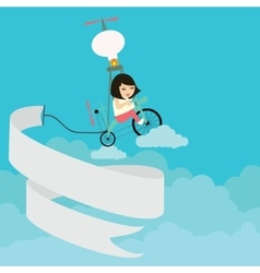 kids girls riding bicycle flying on the sky with vector image