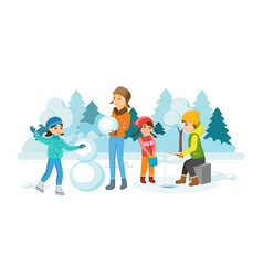 activities skate sculpt snowman engaged fishing vector image