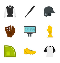 baseball tournament icons set flat style vector image