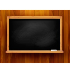Blackboard on wooden background vector image