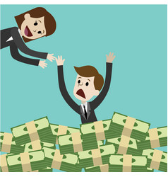 businessman or manager drown in his money money vector image vector image