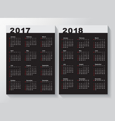 Calendar template for 2017 and 2018 years vector