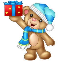 Cartoon bear holding a gift vector image vector image