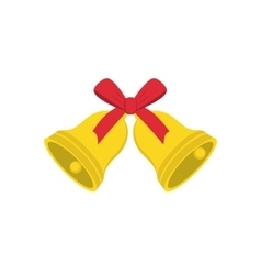 Christmas golden bells with red bow vector image
