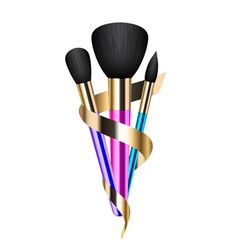 Colorful make-up brushes vector