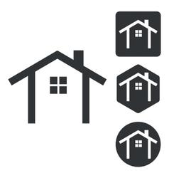 Cottage icon set monochrome vector