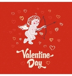 Cupid on the retro love background vector image