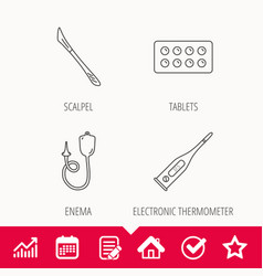 Electronic thermometer tablets and scalpel icons vector