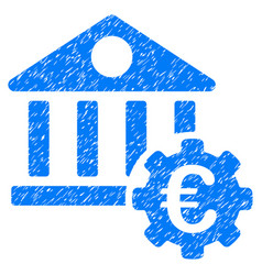 Euro bank building options grunge icon vector