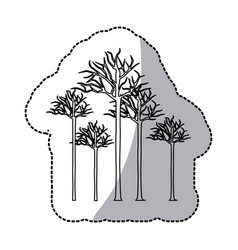 Figure bare oak trees icon vector