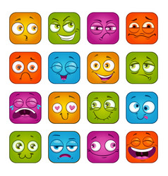 funny colorful square faces set vector image vector image