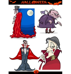 Halloween Cartoon Horror Themes Set vector image