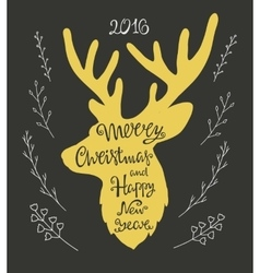 Handdrawn lettering in the shape of deer vector