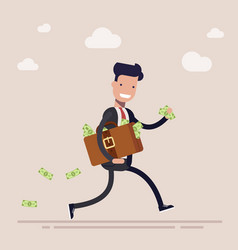happy businessman or manager is running with a vector image vector image