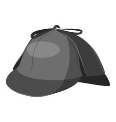 Hat detective icon gray monochrome style vector