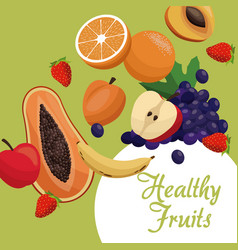 Healthy fruits fresh food vector