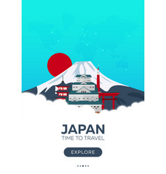 japan time to travel travel poster flat vector image