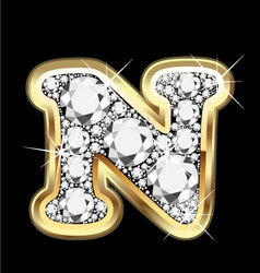 Letter n gold and diamond vector