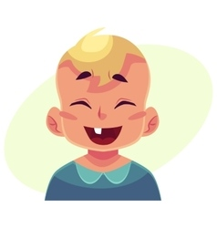 Little boy face laughing facial expression vector