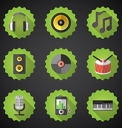 Music Flat Icon Set Include speaker mic vinyl mp3 vector image vector image