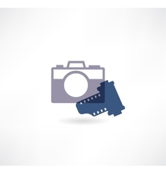 Photo icon Camera with the film vector image vector image