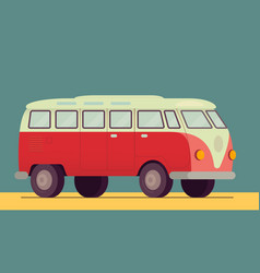 red retro van car - 1950-1970 seventies sixties vector image