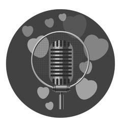 Retro microphone icon gray monochrome style vector