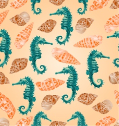 Seamless texture seashells and seahorse vector