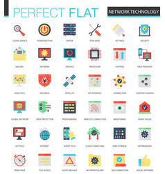 Set of flat network technology icons vector