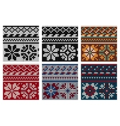 Set of norwegian knitting seamless pattern vector