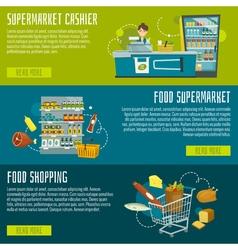 Supermarket horizontal banners set supermarket vector image vector image