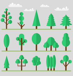 tree icon set with clouds and grass vector image vector image