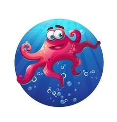 Underwater cartoon comic octopus in ocean vector