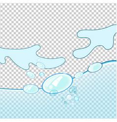 Water wave transparent surface with bubbles vector