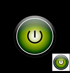 Green button power icon vector