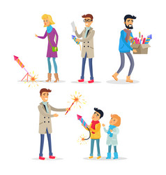 Adults and children setting off bright fireworks vector